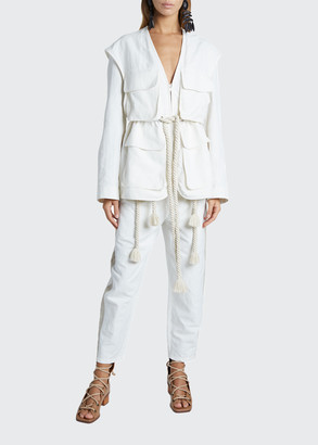 Stella McCartney 4-Pocket Safari Jacket with Adjustable Waist