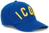 Dsquared2 Blue Embroidered Cotton Twill Cap