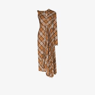 A.W.A.K.E. Mode Checked Asymmetric Pleated Midi Dress