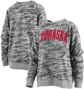Unbranded Women's Pressbox Camo Nebraska Cornhuskers Gulfport Applique French Terry Crewneck Pullover Sweatshirt