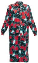 Marni Pussy-bow Leaf-print Crepe Midi Dress - Womens - Green Multi