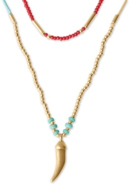 """Lucky Brand Gold-Tone Horn Pendant Convertible Beaded Layer Necklace, 14-1/2"""" + 2"""" extender"""