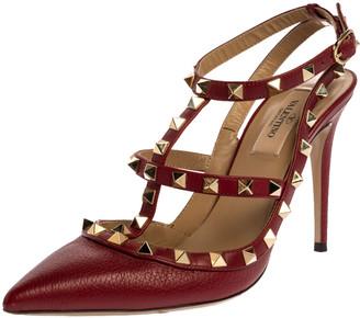 Valentino Burgundy Leather Rockstud Cage Ankle Strap Sandals Size 37.5
