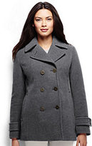 Lands' End Women's Petite Luxe Wool Peacoat-Medium Gray Heather