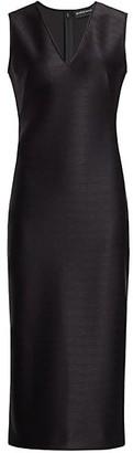 Brandon Maxwell Sleeveless Pebbled Satin V-Neck Midi Dress