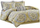Madison Home USA Microfiber Printed 9-Piece Comforter Set, Yellow, Full