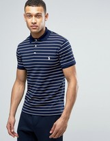 Polo Ralph Lauren Stripe Pique Polo Stretch Slim Fit In Navy