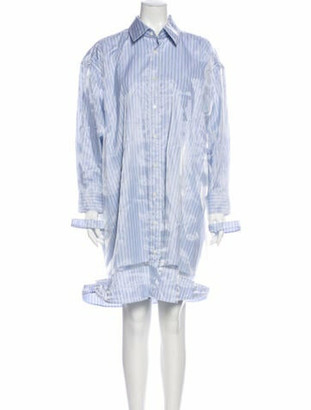 Maison Margiela Striped Knee-Length Dress Blue