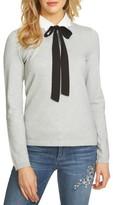 CeCe Women's Scalloped Tie Collar Sweater