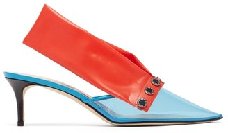 Christopher Kane Detachable-strap Pvc Kitten-heel Mules - Blue Multi
