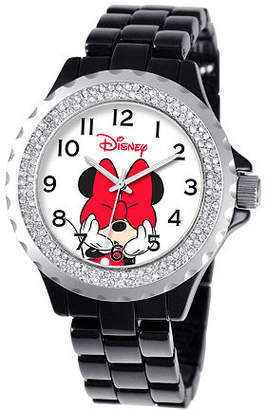 Disney Princess Disney Minnie Mouse Womens Black Bracelet Watch-W000502 Family