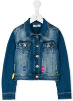 MSGM embellished denim jacket - kids - Cotton/Spandex/Elastane - 4 yrs