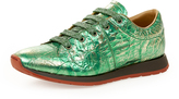 Vivienne Westwood Women's Monkey Low Top Trainers Green Tin Foil UK 3