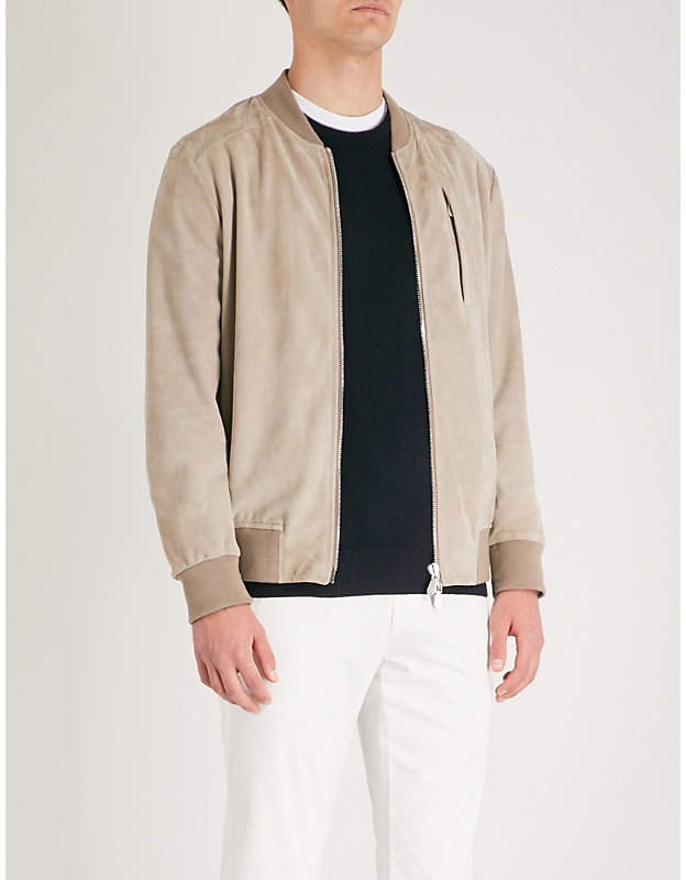Eleventy Zip-up suede bomber jacket