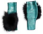 Jocelyn Metallic Fox Fur Fingerless Mittens