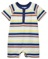 Tea Collection Stripe Henley Romper (Baby Boys)