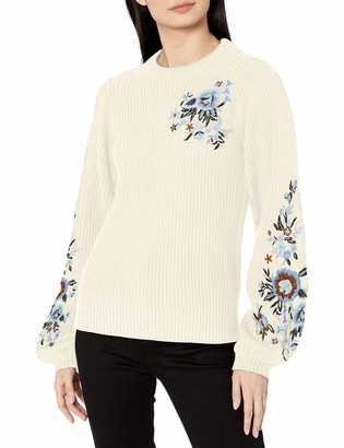Lucky Brand Women's Embroidered Sleeve Pullover Sweater