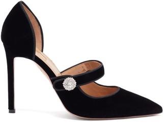 Aquazzura Astor 105 Crystal-embellished Velvet Pumps - Black
