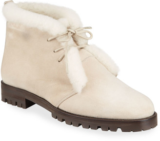 Manolo Blahnik Mircus Suede Shearling Lace-Up Booties