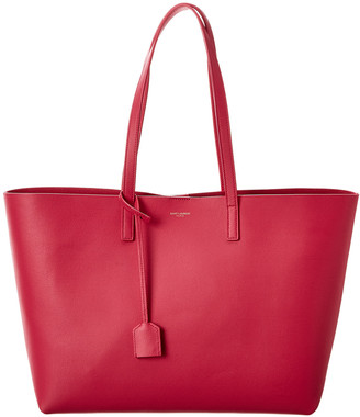 Saint Laurent Large East/West Leather Shopper Tote