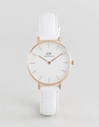 Daniel Wellington Dw00100189 Classic Petite Leather Watch In White 32mm