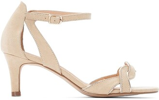La Redoute Collections Faux Suede Heeled Sandals with Ankle Strap