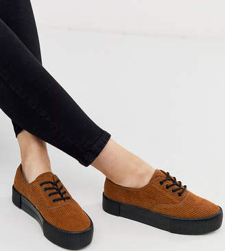 Monki cord platform plimsolls in brown