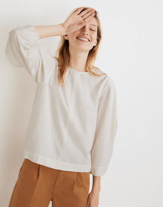 Madewell Crepe Puff-Sleeve Seamed Top