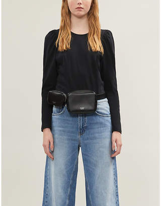 Sandro Gathered-shoulder cotton-jersey top