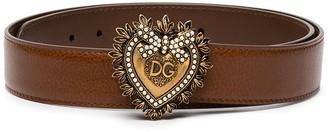 Dolce & Gabbana Devotion pearl-embellished leather belt