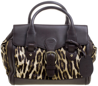 Gucci Dark Brown Animal Print Calf Hair and Leather Heritage Boston Bag