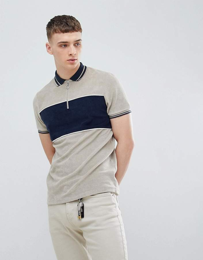 Asos Design DESIGN polo shirt with cut and sew body panel and zip neck in grey