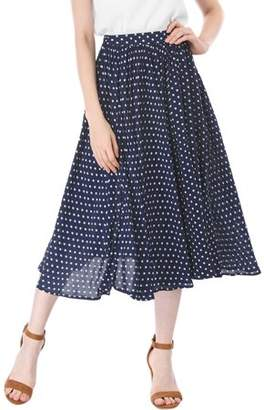 Unique Bargains Women's Polka Dots Elastic Waist Flare A Line Midi Skirt XS Blue