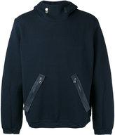 Oamc zip-detail hooded sweatshirt - men - Cotton/Calf Leather/Polyamide/Cupro - M