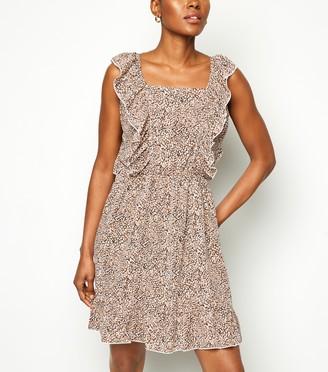 New Look AX Paris Spot Frill Trim Mini Dress