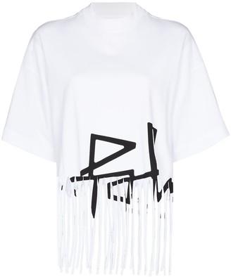 Palm Angels fringe hem logo print T-shirt