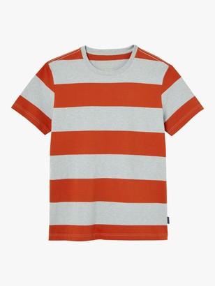 Joules Boathouse Wide Stripe T-Shirt, Grey/Orange