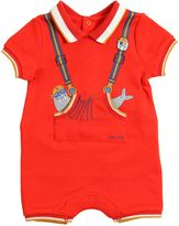 Little Marc Jacobs Suspenders Printed Cotton Romper