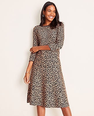 Ann Taylor Petite Cheetah Print Flare Sweater Dress
