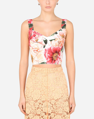 Dolce & Gabbana Camellia-Print Charmeuse Bustier Top