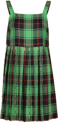 Marco De Vincenzo Pleated Embellished Checked Wool Mini Dress