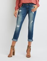 Charlotte Russe Dollhouse Distressed Cropped Boyfriend Jeans