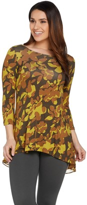 Logo by Lori Goldstein Printed Knit Top with Hi-Low Hem and Chiffon