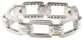 Judith Ripka Sterling Silver & 18K Yellow Gold Chain Link Diamond Bracelet