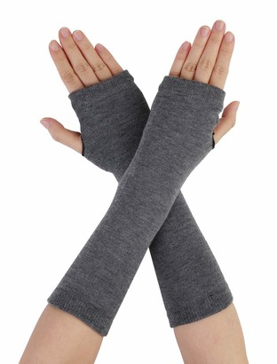 sourcingmap Gray Knitted Fingerless Long Gloves Arm Warmers for Lady