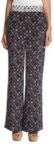Derek Lam 10 Crosby Floral Tile Wide-Leg Trousers, Midnight/Multicolor