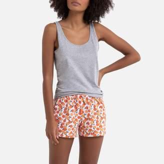 La Redoute Collections Cotton Short Pyjamas with Plain Vest/Printed Shorts