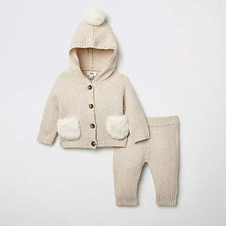 River Island Baby cream knitted cardigan outfit
