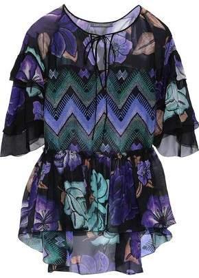 Alberta Ferretti Ruffled Printed Silk-chiffon Blouse