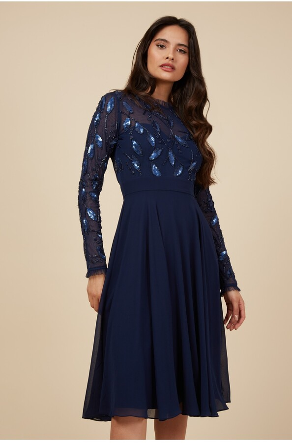 Thumbnail for your product : Little Mistress Navy Frill Midi Embellished Dress